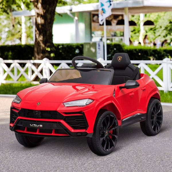 Aosom Compatible 12V Battery-powered Kids Electric Ride On Car Lamborghini Urus Toy with Parental Remote Control Music Lights MP3 Suspension Wheels for 3-6 Years Old Red
