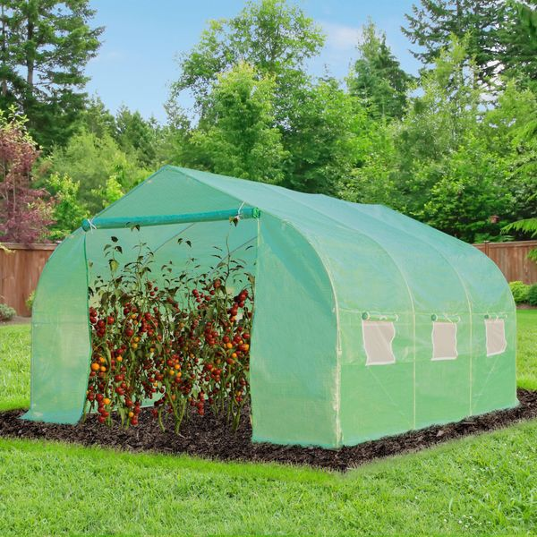 Outsunny 11.5' x10' x 6.7' Walk-in Greenhouse Garden Plant Seed Green House Premium Steel Frame