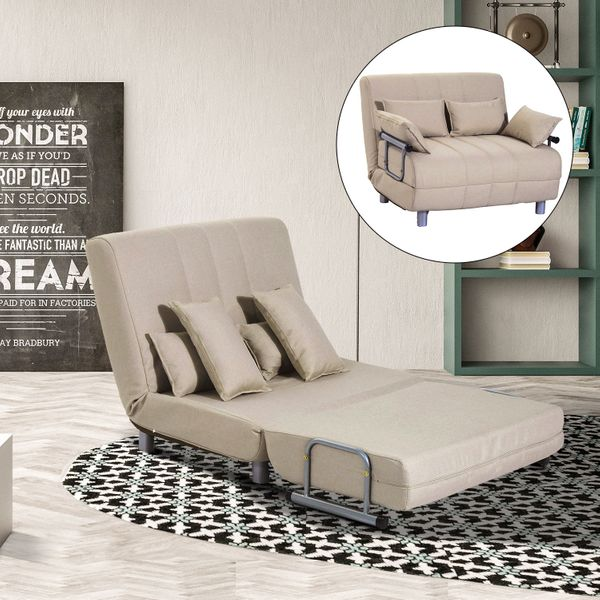 HOMCOM 3-in-1 Convertible Chair Sofa Bed Lounger Folding Bed with Adjustable Backrest and 4 Pillows Beige | Aosom Canada