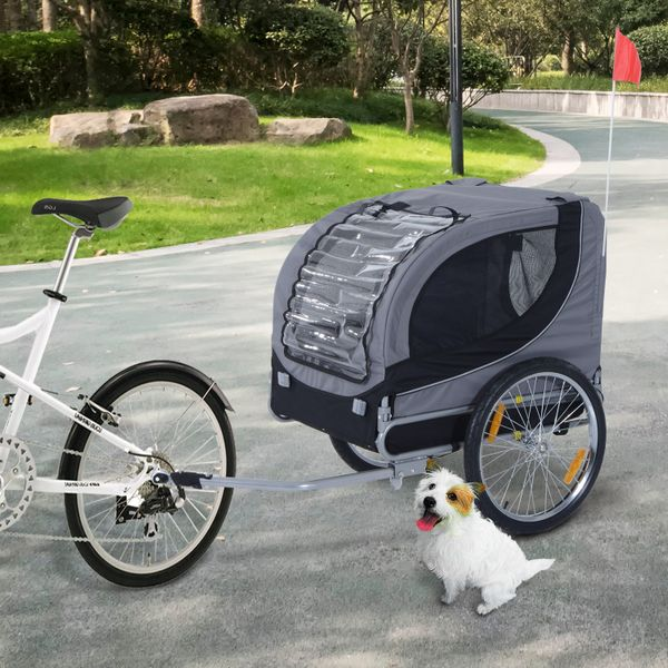 Aosom Pet Bike Bicycle Trailer Dog Cat Travel Carrier Foldable Small Animal Folding Carrier Trailer Gray | Aosom Canada