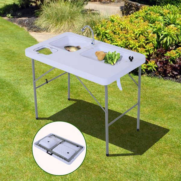 """Outsunny Outdoor Folding Table w/Faucet 2-in-1 Portable Outdoor Camping BBQ Garden Cleaning 31.9"""" Picnic Patio Fishing Table with Faucet and Sinks White 