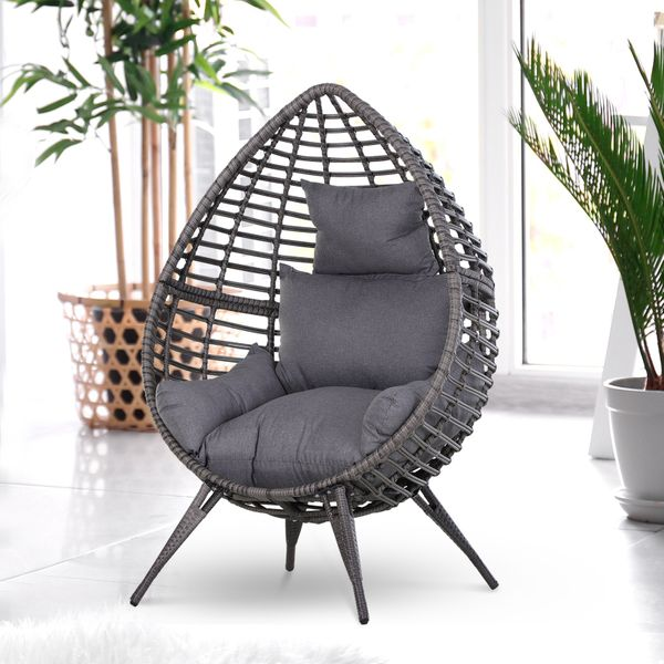 Outsunny Teardrop Lazy Rattan Swing Chair Outdoor Indoor with Cushion Lounger Wicker Cushioned Poolside Patio Seat | Aosom Canada