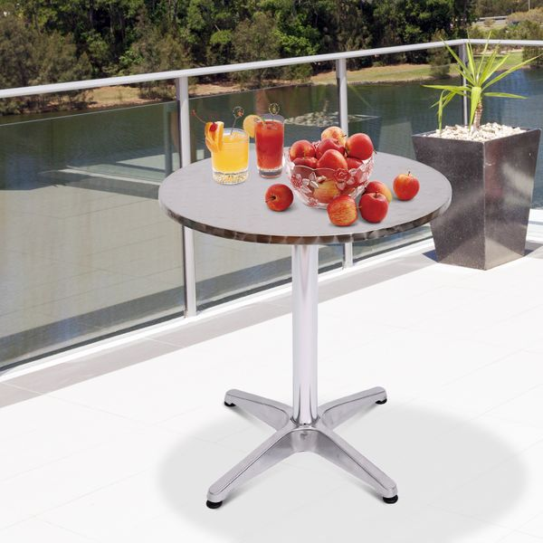 HomCom Aluminum bar tablem Weather resistant easy cleaning with the damp cloth Adjustment Height Table with Stainless Steel Top Silver | Aosom Canada