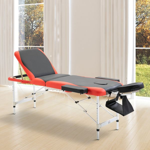 "HOMCOM 73"" 3 Section Portable Foldable Massage Lightweight Table Professional Salon Spa Facial Couch Bed (Black/Red) 
