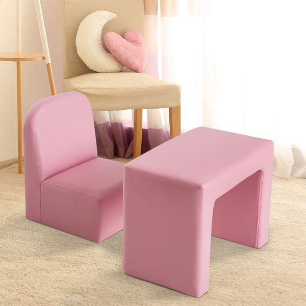 Qaba 2-in-1 Kids Table & Sofa Chair Set Convertible Multifunctional Children Armchair Toddler Activity Couch Recliner Boys Girls Furniture Pink | Aosom Canada