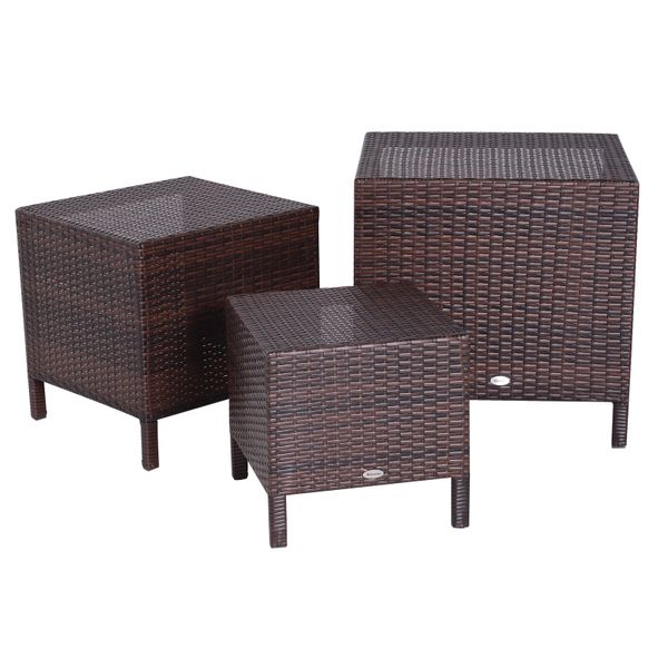 Outsunny Set of 3 Wicker Nesting Tables Hand Woven All Weather|AOSOM.CA
