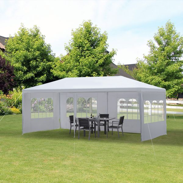 Outsunny 10' x 20' Gazebo Canopy Party Tent with 4 Removable Window Side Walls for Outdoor Event with Wind Ropes and Ground Stakes | Aosom Canada