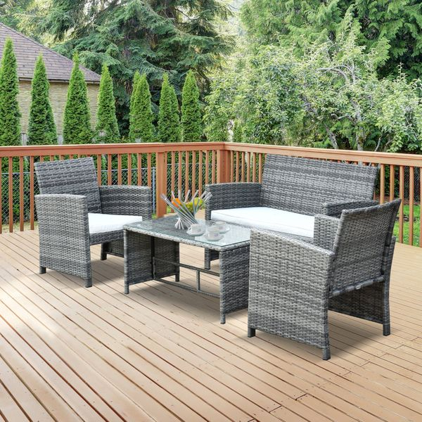 Outsunny Wicker Patio Table Set 4Pcs Rattan Sofa Set Garden Lawn Furniture Table & Chair with Cushion |Aosom Canada