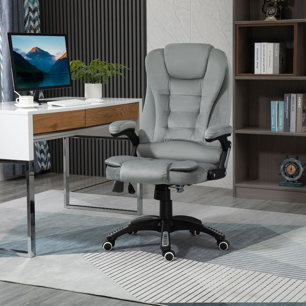 Vinsetto Ergonomic Vibrating Massage Office Chair High Back Executive Chair with 6 Point Reclining Backrest Padded Armrest Grey