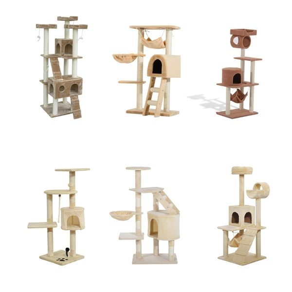 Pawhut Cat Tree Furniture Pet Tower House with Scratch Post and Condo Dangle Toys Ecru Pet Outdoor Equipment Post Furniture | Aosom Canada