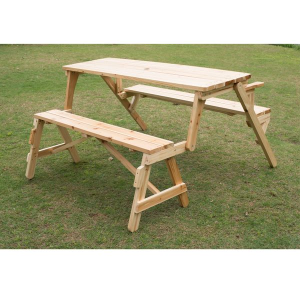 Outsunny 2 in 1 Outdoor Picnic Table Garden Bench Fir Wood Durable Folding Portable Desk|Aosom.ca