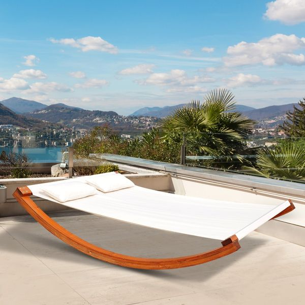 Outsunny Rocking Double Sun Lounger Hammock with Curved Wooden Stand Outdoor Yard Patio, White Teak