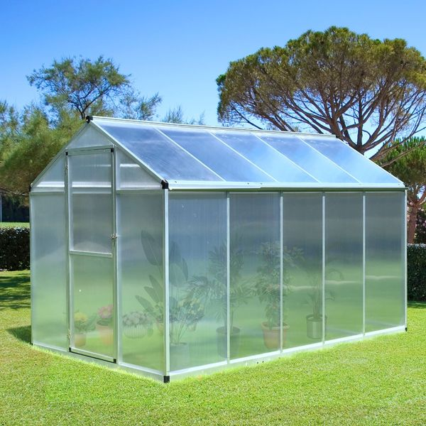 Outsunny 10'x6'x6.4' Walk-in Garden Greenhouse Polycarbonate Panels Plants Flower Growth Shed Cold Frame Outdoor Portable Warm House Aluminum Frame
