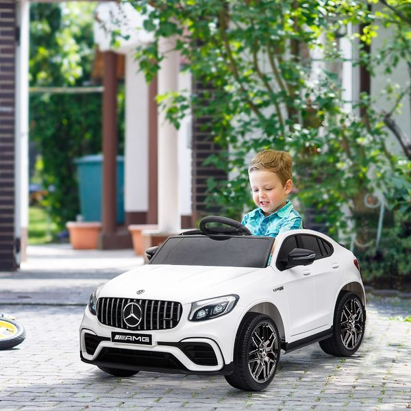 Aosom 12V Mercedes Kids Car Licensed Benz Ride On Car For 3 - 8 Years Old Kids With Parental Remote Control Suspension Wheel White