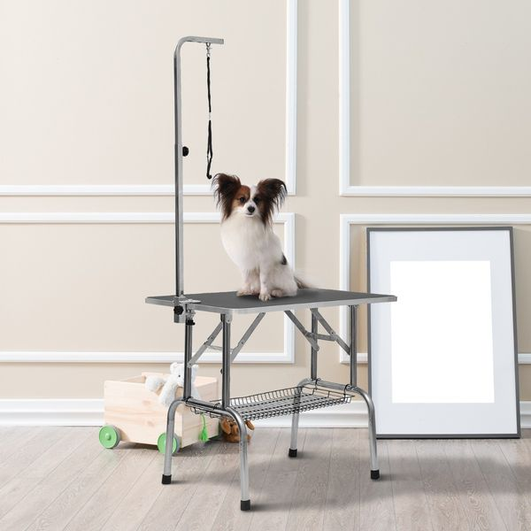 """PawHut Folding Pet Grooming Table with Storage Basket Quality Guarantee 36"""" Large Stainless Steel Dog Cat Portable Adjustable Grooming Table Black 