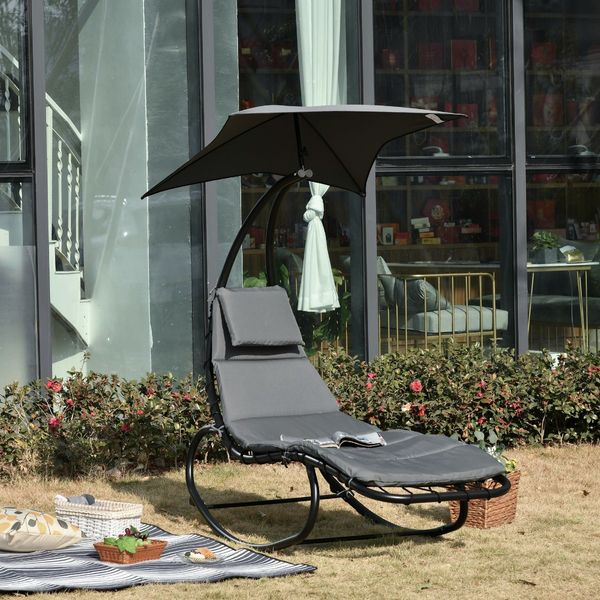 Outsunny Patio Rocking Chaise Lounge Rocking Bed with Canopy Cushion Headrest Pillow