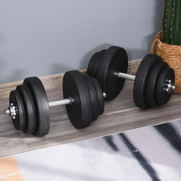Soozier 88lbs Adjustable Dumbbell Set Weight Fitness Training Exercise - Black (pair)