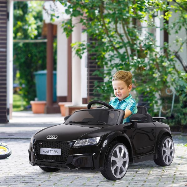 Aosom 6V Licensed Audi Kids Ride-On Car With Remote Control Suspension Wheel 1 Seater 2 Openable Door Adjustable Speed For 3 - 8 Years Old Kids Black