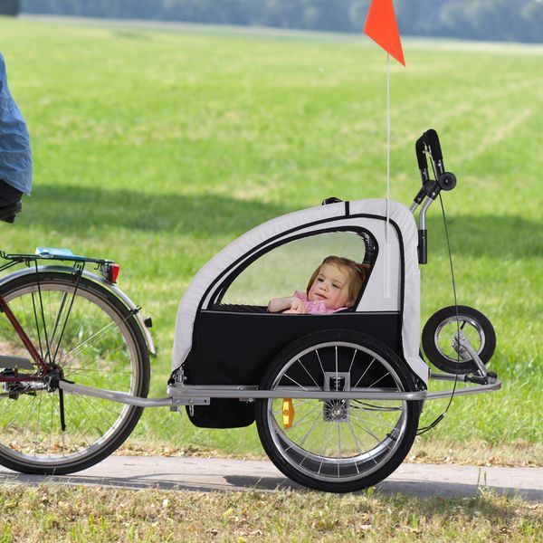 Aosom 2-in-1 Double Child Baby Bike Bicycle Trailer Stroller Jogger - Black/White