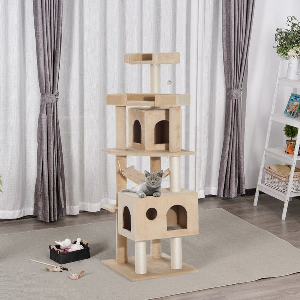 Pawhut Cat Tree Scratching Post 65.2 Inch Pet Furniture with Tower Furniture Condo, Hammock, Toy Beige | Aosom Canada
