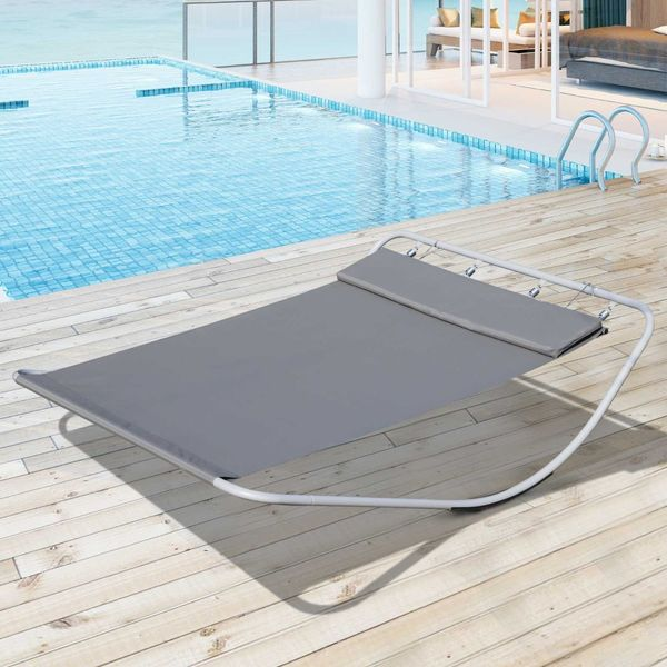 Outsunny Rocking Sun Lounger Double Hammock Bed with Steel Stand for Garden beach and pool Headrest Grey