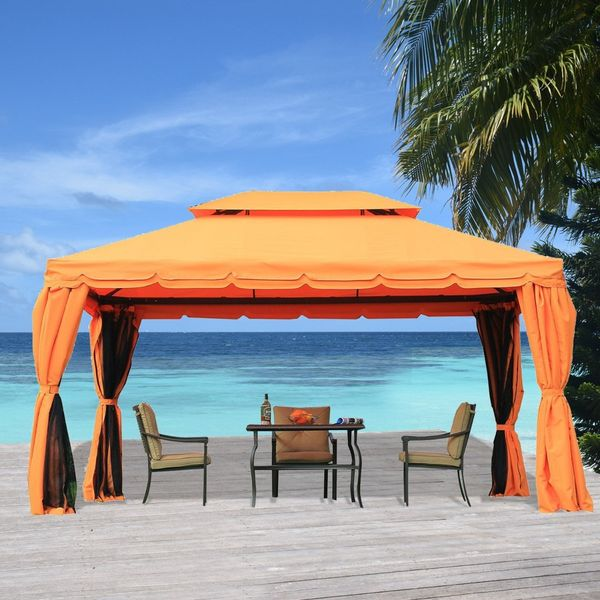 Outsunny 10x13ft Aluminum Frame Gazebo Canopy Double Tier Garden Sunshade Shelter with Netting and Curtains Orange  Aosom Canada