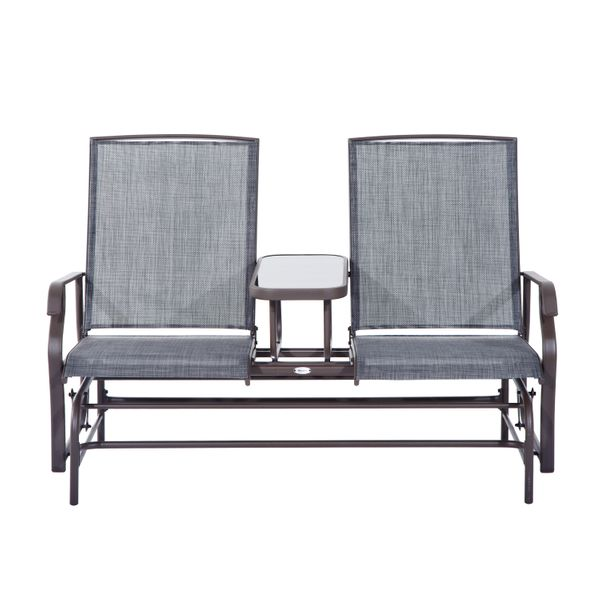"""Outsunny Connected Chairs for Two  58"""" Patio Glider Rocking Chair 2 Person Outdoor Loveseat Rocker Garden Furniture Bench 