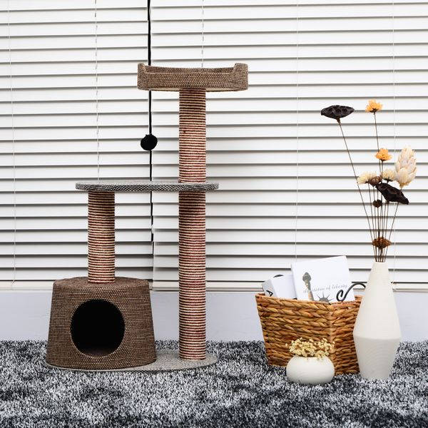 PawHut Scratching Cat Tree Post Climbing Kitten Pets Furniture with Toy, Brown|Aosom.ca