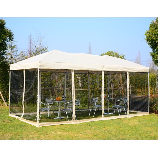 Outsunny 10x20 canopy Pop Up Party Tent Gazebo Patio Garden Wedding Canopy with 6 Removable Mesh Sidewalls and Carry Bag Beige|Aosom Canada
