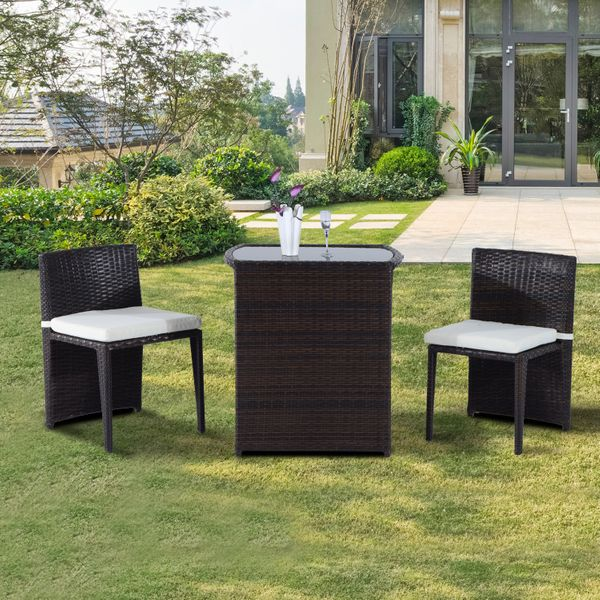 Outsunny 3pcs Outdoor Wicker Rattan Bistro Set Patio Chair and Table Garden Lawn Coffee Sofa Furniture with Cushion | Aosom Canada