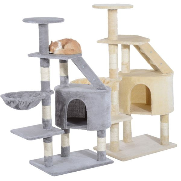 "PawHut 49"" Deluxe Cat Tree Furniture Scratching Pet Tower Kitten Play Post House Activity Center