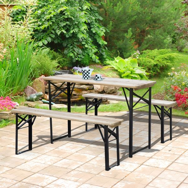"""Outsunny 47.2"""" Portable Heavy Duty 3 Pieces Picnic Table and Bench Set   Aosom Canada"""