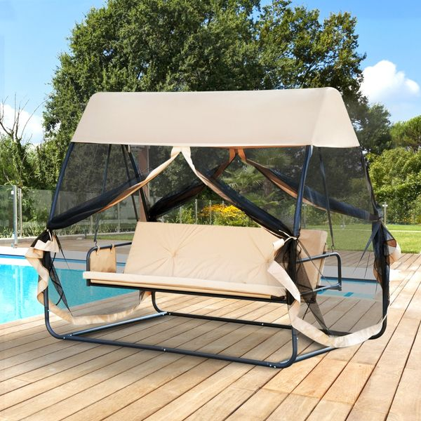 Outsunny 3 Seater Swing Chair Lounge Garden Patio Convertible Hammock Bed Sun Shelter with Canopy and Mesh Screen | Aosom Canada