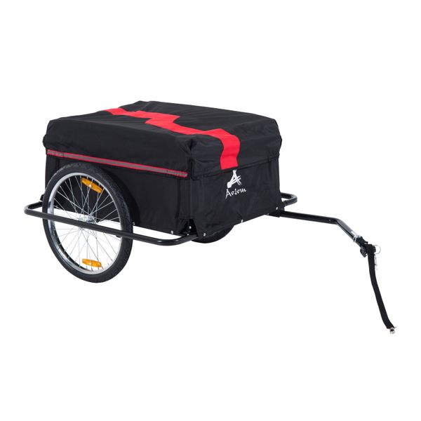 Aosom Bicycle Cargo Trailer Cart Carrier Garden Use Bike Shopping Steel  w/ Outdoor Rain Cover  Black/Red|Aosom Canada