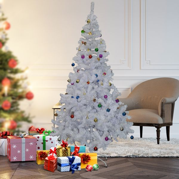 HOMCOM 5.9 Artificial White Christmas Tree with Decorations | Aosom Canada