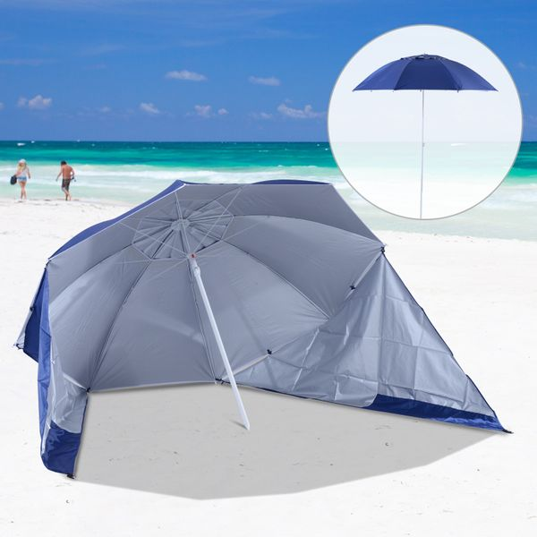 Outsunny 7.5ft 2-in-1 Umbrella Shelter Beach Sport Umbrella with Silver Coated UV50 Protection, Blue | Aosom Canada