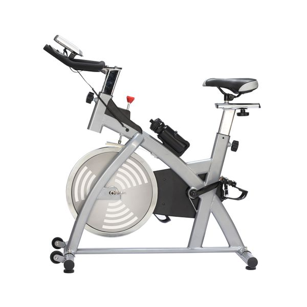 Soozier Adjustable Upright Exercise Bike Cycling Trainer Home Gym Fitness Equipment, Sliver|Aosom Canada