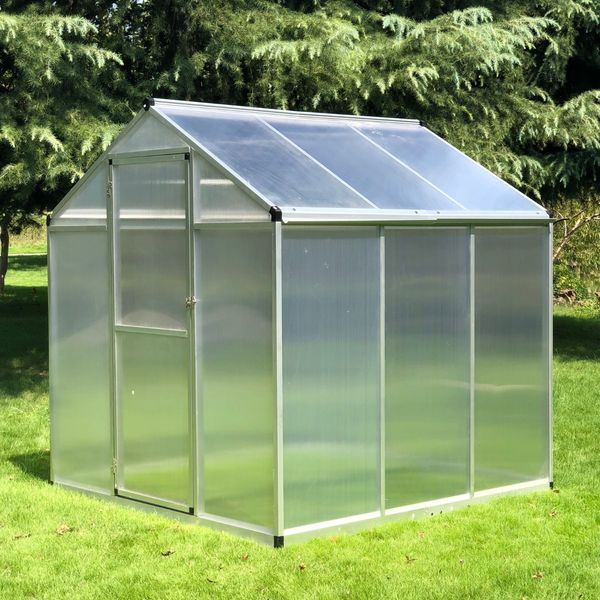 Outsunny 6'x6.25'x6.4' Portable Outdoor Walk-In Cold Frame Greenhouse Aluminum Frame|AOSOM.CA