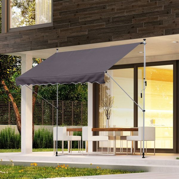 Outsunny Patio Adjust Awning Floor- to-ceiling Retractable Shade UV Protective Grey