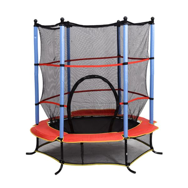 "Aosom 55-Inch Children""s Trampoline with Safety Enclosure Net Round Kids Bouncer All in 1 Set 