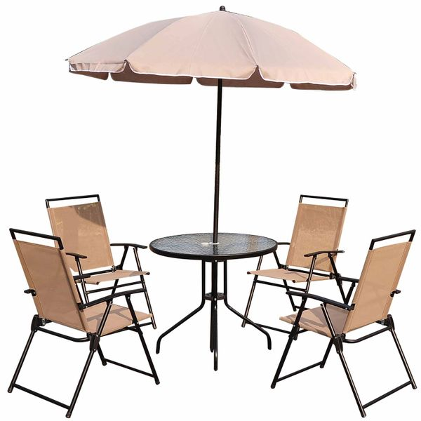 Outsunny 6Pc Patio Umbrella Set Garden Bistro Table Foldable Chairs Outdoor Furniture Cream-white|Aosom.ca