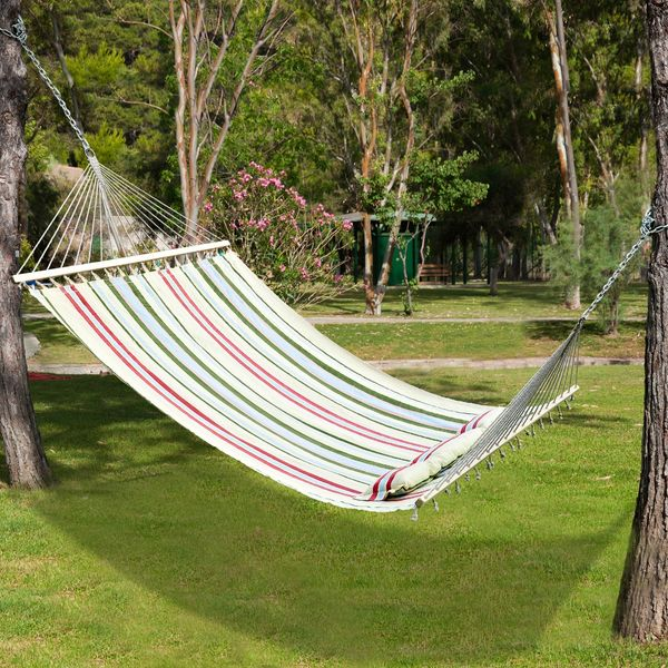 """Outsunny 83"""" Hammock Bed Sun Lounger Bed Camping Hang Sleep w/ Pillow"""