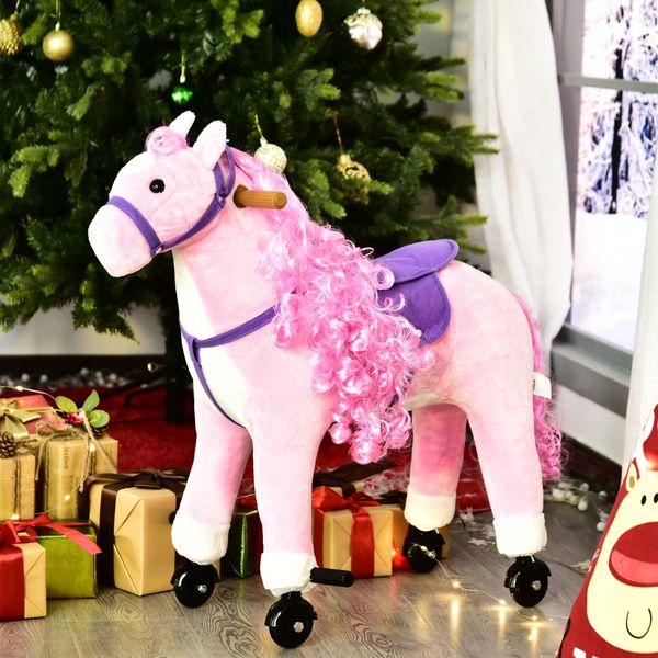 Qaba Kids Riding Horse Toy Neigh Sound Gift Walking Pony Ride on Rocking Plush Horse w/ Wheels 110lb Weight Capacity Pink | Aosom Canada
