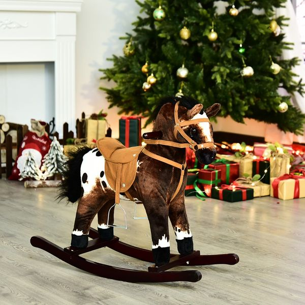 Qaba 24ᄀᄆ Plush Ride On Rocking Horse with Sound Children Kids Toy Pony Wooden Rocker Dark Brown/White | Aosom Canada