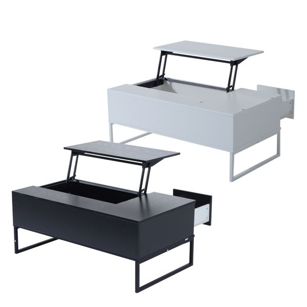 HOMCOM Foldable Wood Lift Top coffee Table Convertible Tea Desk Furniture with 2 Storage drawer Tray|Aosom.ca