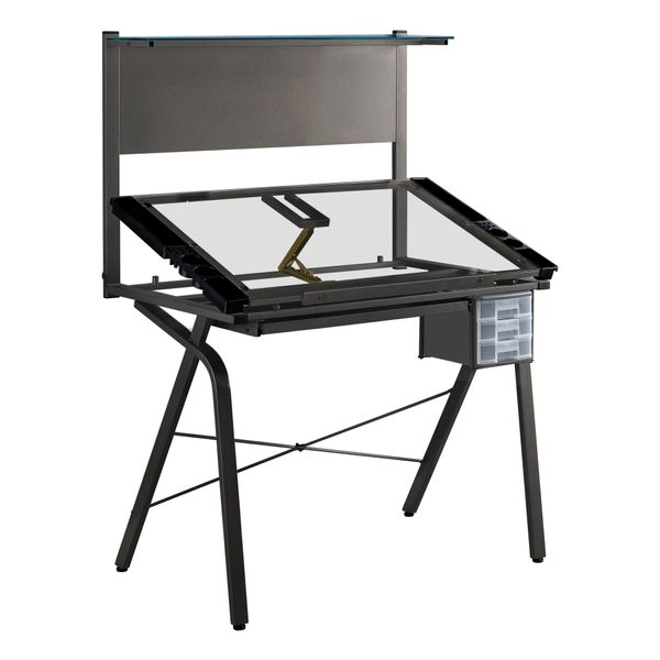 Monarch Modern Industrial Adjustable Metal and Temperd Glass Professional Drafting Table with Magnetic Board and Removable Side Trays - Black | Aosom