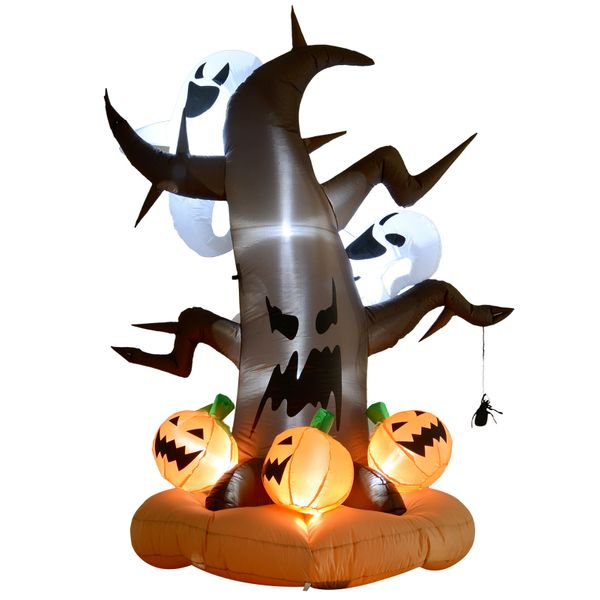 HOMCOM 8ft  LED Outdoor Halloween Inflatable Decoration - Dead Tree with Ghost on Top Pumpkins on Bottom|AOSOM.COM