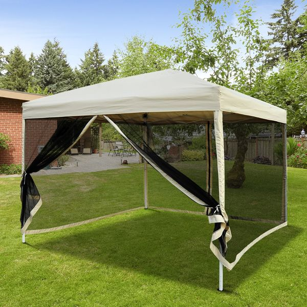 Outsunny Tan 10'x10' Easy Pop Up Party Tent  Canopy with Mesh Walls Outdoor Patio Gazebo Party Shade Tent With Sidewalls Mosquito Net- Beige | Aosom