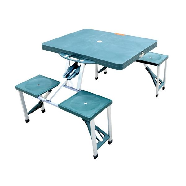 Outsunny Patio Dining Sets Deep Green Outdoor Aluminum Portable Folding Camping Picnic Table Case 4 Seats | Aosom
