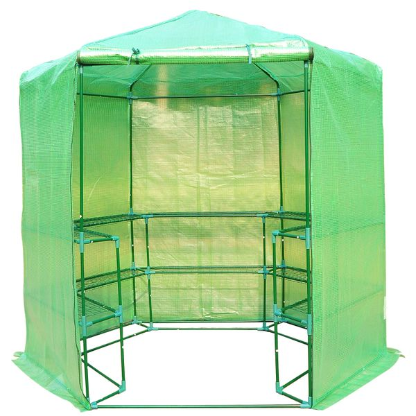 Outsunny Hexagonal 3 Tier Shelving Walk-In Greenhouse Portable Plant Flower Gardening Greenhouse | Aosom